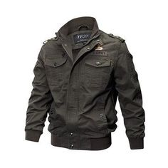 Plus Size Military Pockets Turn Down Collar Solid Color Washed Cotton Jacket for Men
