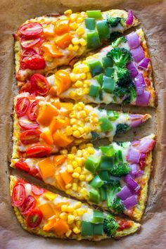 RAINBOW PIZZA...with a Cauliflower Crust! This is so good & your kids will love it!