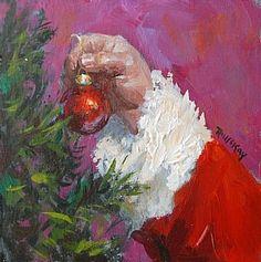 Santa's Touch by Robert McKay, Acrylic, 4 x 4 Santa Christmas, Christmas Time, Vintage Christmas, Christmas Crafts, Christmas Decorations, Vintage Santas, Christmas Ideas, Santa Paintings, Christmas Paintings On Canvas