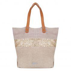 Shopping bag con destellos dorados de glamour y sofisticacion. Práctico y muy elegante este bolso actual y juvenil. Venta al por mayor, distribución, lotes en http://intueriecommerce.com