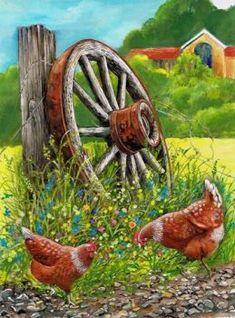 Diamond Painting Two Chicken Wagon Wheel Kit Rooster Painting, Rooster Art, Chicken Painting, Chicken Art, Pictures To Paint, Art Pictures, Photos, Arte Do Galo, Arte Country