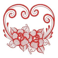 Sweet Heirloom Embroidery Design: Redwork Rippled Roses 3.54 inches H x 3.85 inches W