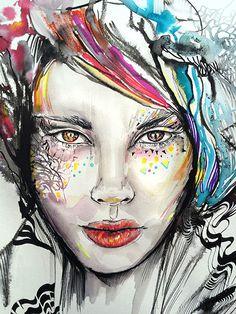 Portrait illustration by Irmak Akçadoğan  painting, watercolor, colorful, girl, hair, fashion, ink, art, fashion illustration