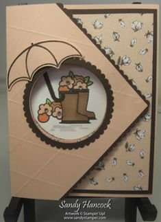 Under My Umbrella Tri-Fold card with a Video (UdderlyAwesome Stamping From The Heart) Tri Fold Cards, Folded Cards, Umbrella Cards, Hat Tutorial, Under My Umbrella, Card Maker, Scrapbook Cards, Scrapbooking, Card Sketches