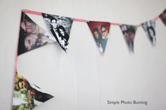 DIY Photo Bunting for a party or just for fun! I love this idea, & would even consider using a strip of burlap in lieu of ribbon to make it more vintage. Diy Photo Bunting, Party Bunting, Bunting Garland, Photo Banner, Photo Garland, Buntings, Creative Crafts, Fun Crafts, Diy And Crafts