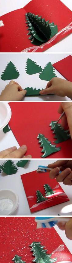 Christmas Tree Pop Up Card | Handmade Pop Up Christmas Cards for Kids to Make