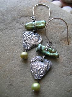 Green Shimmer Fine Silver Earrings PMC by stacilouise on Etsy, $42.00