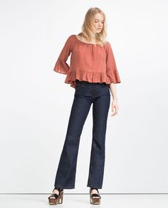 Image 1 of FRILLED SLEEVE JACQUARD TOP from Zara