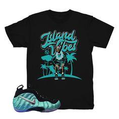 "Foamposite Island Green ""Vibes"" Shirt (Black)"