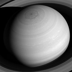 Saturn appears as a serene globe amid tranquil rings in this view from NASA's Cassini spacecraft.