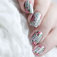 Floral Nails With Pinstripes