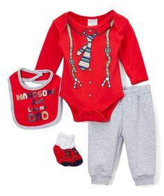 $11.99 marked down from $20! Red Suspender Print Bodysuit Ensemble Set #zulilyfinds