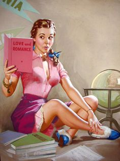Love and romance, pin-up style. Art by K.O. Munson, 1952. #vintage #1950s #pinups #reading #books. Jm.