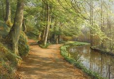 Peder Mork Monsted - Children by a Stream; Creation Date: 1929; Medium: Oil on canvas; Dimensions: 71.12 X 100.33 cm.