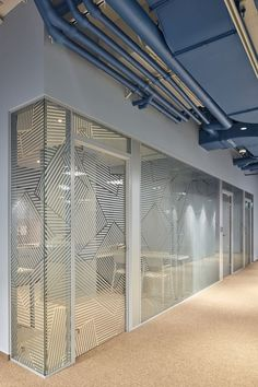 So neat - a mixture between privacy and openness. Call us if you want to add some pizzazz to your office lighting! www.citylighting.com