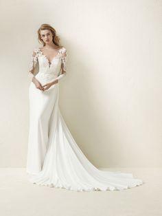 Vestido de noiva corte evasé renda 2018