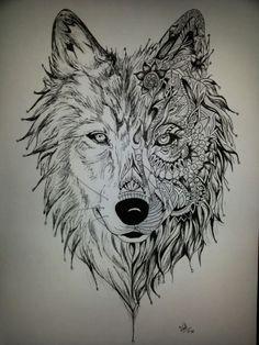 dibujo de un lobo a lapiz - Buscar con Google:                              …