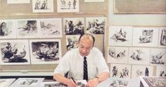 Marc Davis, surrounded by his concept art pieces for the Pirates of the Caribbean attraction