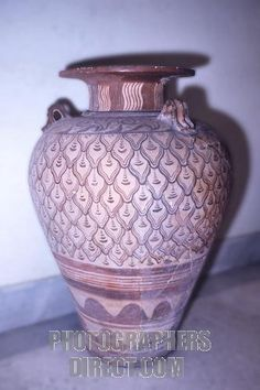 Large pithoi ( jars ) , with double axe design , First palace period 1900 1700 BC found in the excavations at Knossos , Crete , Greece , Europe . Crete was the centre of Europes most ancient civilization , the Minoan , often referred to as the cradle of European civilization . stock photo
