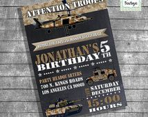 Birthday party invitation kids army chalkboard invite military trucks militar helicopter digital printable invitation you print invite 13106