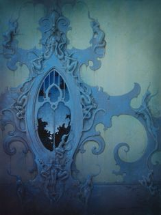 Daniel Merriam~ love the blue swirly, curly windows here; and the architectural details in all of his work.