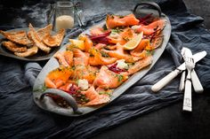Deceptively easy to prepare, this flavoursome salmon dish is a real crowd pleaser Wine Offers, Best Starters, Salmon Dishes, Xmas, Christmas, Paella, Wine Recipes, Crowd, Fresh
