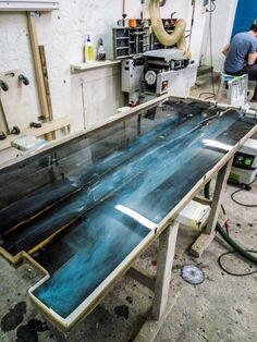 Blue epoxyresin table.