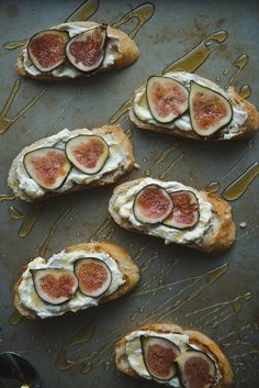 Homemade ricotta // fig, ricotta, & honey tartines. Whole Foods Ricotta is a fine substitute :)