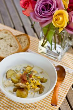 Chicken & Corn Chowder with Roasted Potato | Easy Japanese Recipes at JustOneCookbook.com