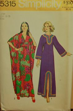 1970s Caftans Vintage Simplicity Dress Pattern by patterntreasury, $16.95