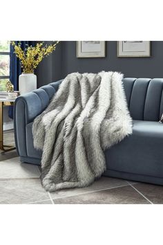 Grey Fur Throw, Grey Throw Blanket, Fur Blanket, Faux Fur Throw, Classy Living Room, Couch Throws, Bed Couch, Interior Design Boards, Blue Bedding