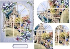 a through the window pyramid sheet with a floral theme, has a dovecote cottage scene viewed through a window decorated with beautiful porcelain roses and butterflies, co-ordinating tag provided for the greeting of your choice.  thank you for looking please take a peek at my other items