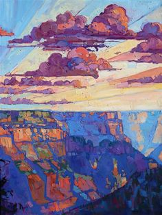 North Rim Hexaptych - Contemporary Impressionism   Landscape Oil Paintings for Sale by Erin Hanson