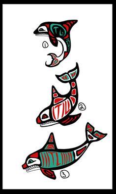 Haida-ish Orca Tattoo Designs