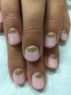 Pale pink with gold glitter moon gel nails. Very chic. All done with non-toxic and odorless gel.
