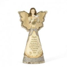 """With birchwood accents and intricate pewter detailing, this heartfelt angel expresses this comforting sentiment:  """"Angels are always near to those who are grieving to whisper to them that their loved ones are safe in the hands of God.""""  This is sure to be a gift that will always be remembered.    Chelsea's recommendation:  """"This is such a heartwarming message that will be appreciated and always remembered."""" $32.99"""