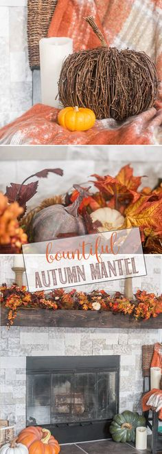 Bountiful Autumn Mantel | Vibrant Fall Mantel with reds, oranges and deep purples - massive garland and lots of pumpkins