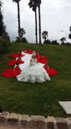 Gran boda gitana. La novia y sus damas de honor.