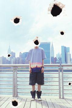 CYBERGREEN 2014 夏季 rain day nyc 丝绸拼接oversizedT桖-淘宝网