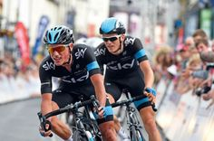 Team Sky team-mates Peter Kennaugh and Ben Swift duel it out in the finale to the National Road Race Championships in Abergavenny. Kennaugh just outsprinted Swift to take the title.