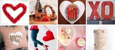 14 Valentine's Day Decor Ideas To DIY: heart wreath, cork heart, leather heart placemat, accent pillows, heart cake stand, xo art, kiss art and more.