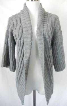TRINA TURK Silver Metallic Open Front Sweater Cardigan M Gray Cable Knit  #TrinaTurk #Cardigan #AllOccasions