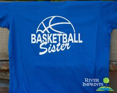 BASKETBALL SISTER cursive, shiny foil t-shirt with your choice of color