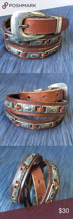 Vintage Fossil Camel Leather Belt PRE LOVED VINTAGE FOSSIL camel south western belt with sun hardware details. Belt is in great condition metal is tarnished. Size small Fossil Accessories Belts