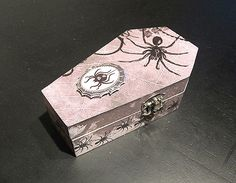 Spooky Spider Wood Coffin Trinket Keepsake by nightmaresknickknack Jewelry Box, Jewelry Necklaces, Women Jewelry, Gothic Jewelry, Keepsake Boxes, Coffin, Embellishments, Horror, Decorative Boxes
