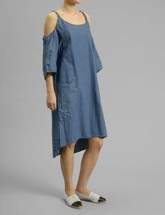 denim open shoulder dress #shopbird15 #ss14
