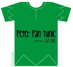 Peter Pan Shirt Pattern for Halloween Costume. Very easy DIY all you have to do is cut the tshirt along the dotted lines. See more tips for the perfect costume on itsaLisa.com