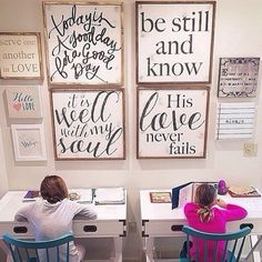 Love this schoolroom wall grouping! Using House of Belonging art