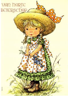 Vintage Dutch 1970s unsent postcard of a little Girl with a Big Straw Hat  - Sarah Kay style. $4.25, via Etsy.