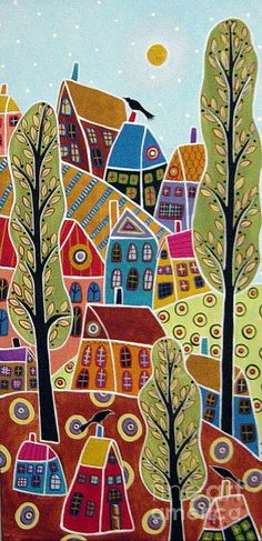 Landscape Painting - Houses Trees And Birds by Karla Gerard